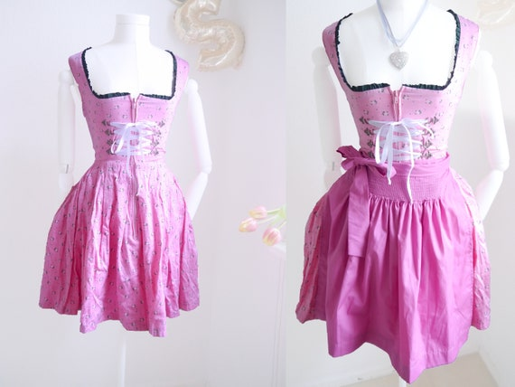 DIRNDL dress in rose pink, cropped Dirndl, floral