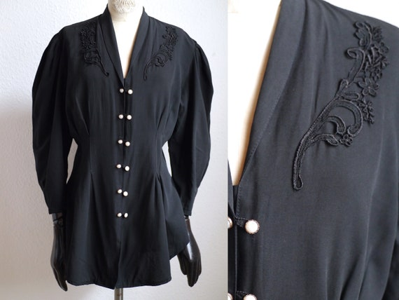 Vintage BLOUSE/ Women's 80s puff shoulder blouse /