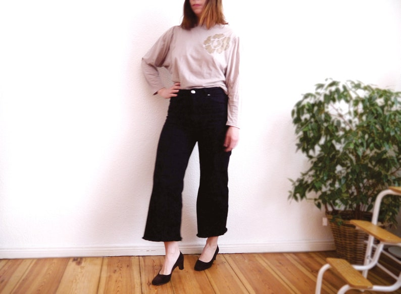 80s knit top womens vintage long sleeve top appliqué etsy