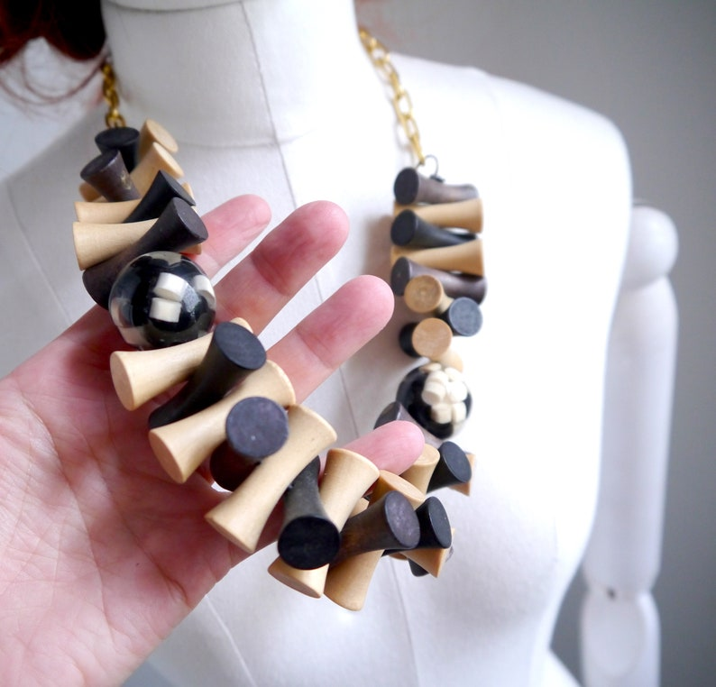 ethnic modern style Statement necklace large wood beads
