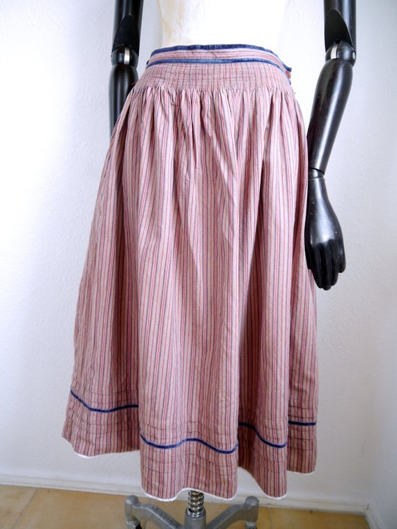 over striped Vintage length In Bohemian cotton skirt SKIRT full traditional made blue German Germany Country velvet beige Folk details knee qZ4rqRPS
