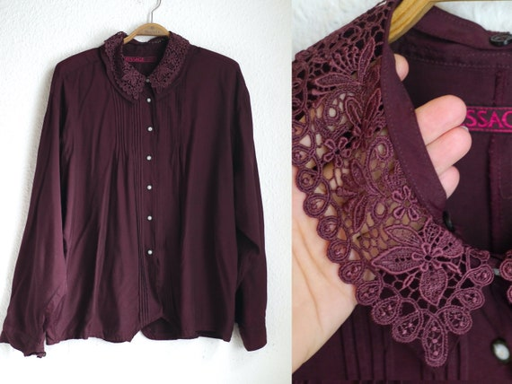 80s lace collar blouse, burgundy blouse with detac