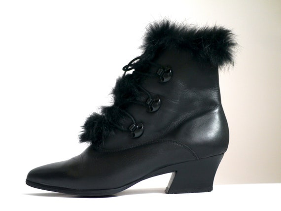 80s ANKLE BOOTS, Vintage victorian inspired pointy