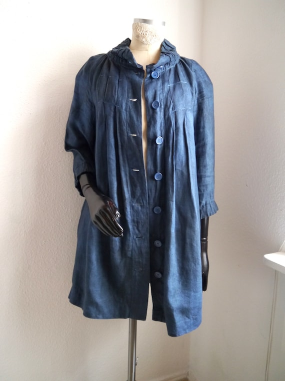 blue SHIPPING Women's dyed linen collar high mid coat style semi FREE summer relaxed coat length xftqF