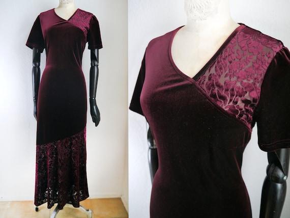 RED VELVET DRESS, Velvet evening dress, burgundy v