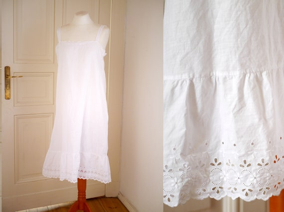 ANTIQUE cotton SLIP DRESS / boho summer shift dres