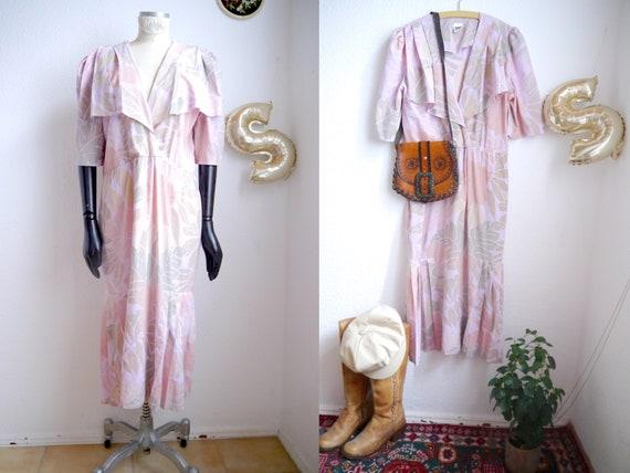 Vintage 40s inspired pastel floral dress / M -L /
