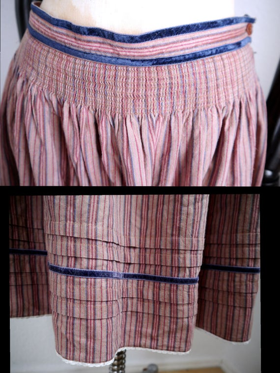Bohemian blue In full knee velvet German skirt details traditional beige Germany over cotton Vintage Country length striped SKIRT made Folk qx878A