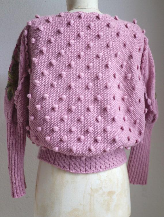 Spectacular Vintage Puff shoulder FOLK Knit CARDI… - image 8