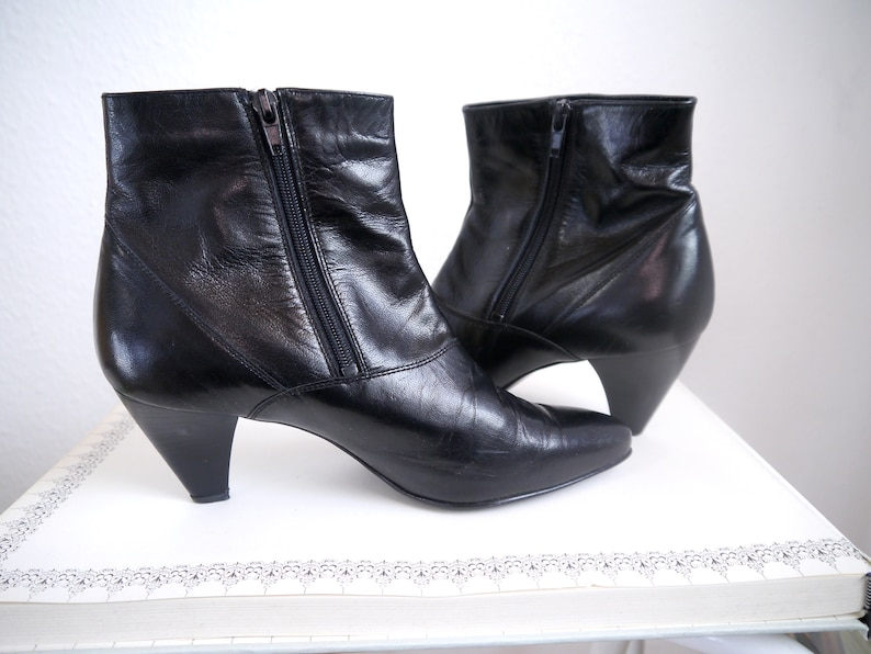 512 80s style ankle boots black vegan leather pointy boots 38 women/'s back retro booties