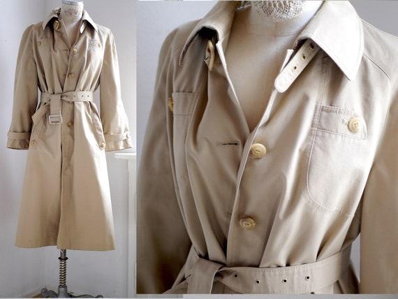 70s Trench coat women's vintage beige trench coat