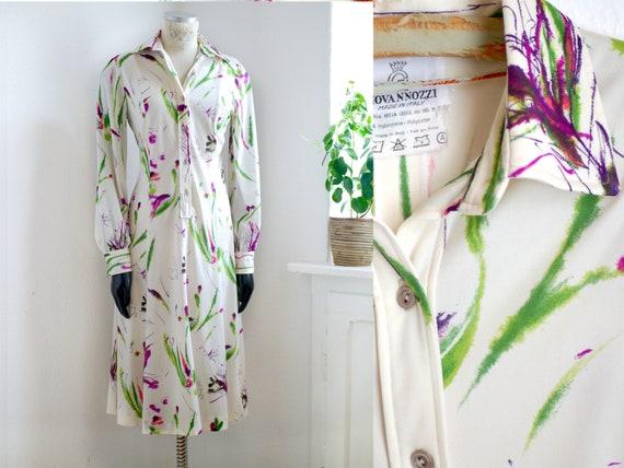 70s floral SHIRT DRESS, Italien vintage midi dress