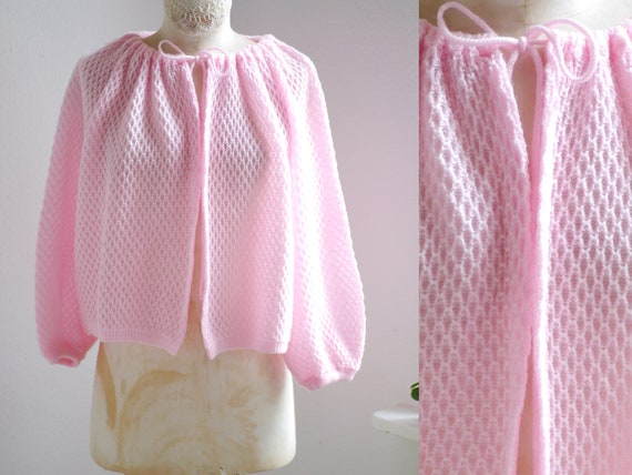 60s knit cardigan / open pink knit top