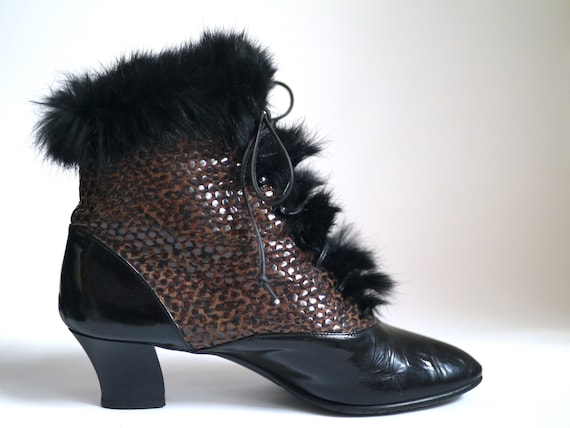 80s ANKLE BOOTS, Vintage victorian inspired bootie