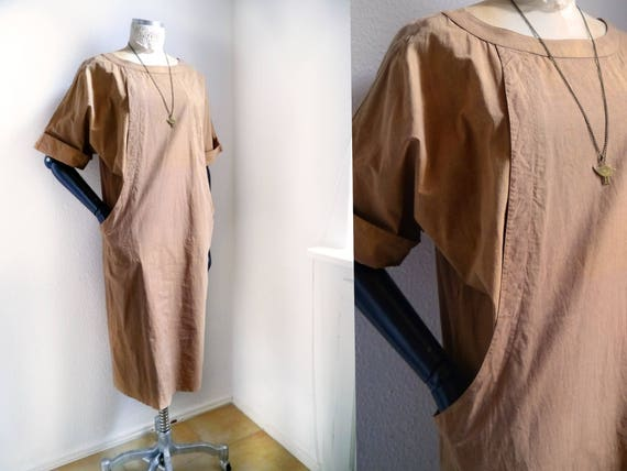 boatneck earth boxy short Vintage minimal tan dress fashion color dress relaxed Dress sleeve dress day pockets baggy Natural gZZAnIqEz