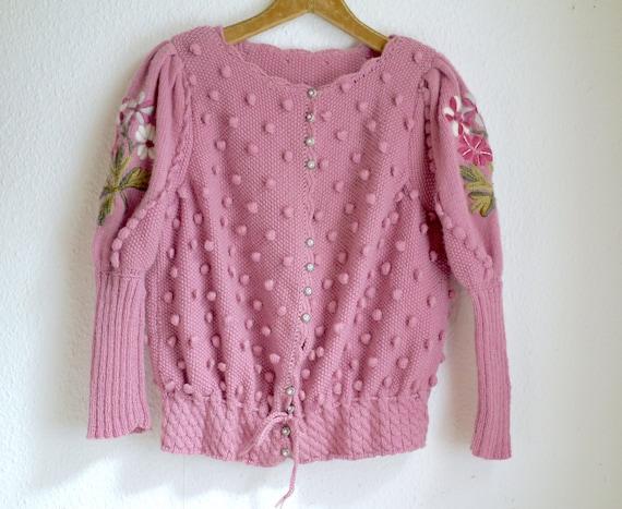 Spectacular Vintage Puff shoulder FOLK Knit CARDI… - image 1