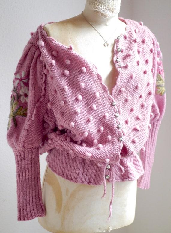 Spectacular Vintage Puff shoulder FOLK Knit CARDI… - image 3