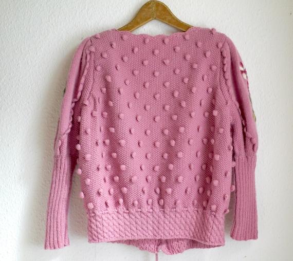 Spectacular Vintage Puff shoulder FOLK Knit CARDI… - image 2