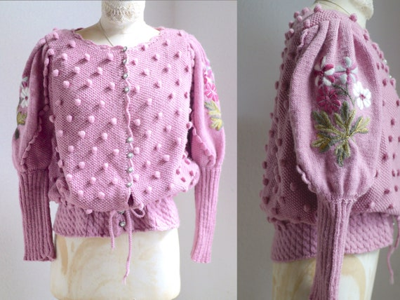 Spectacular Vintage Puff shoulder FOLK Knit CARDI… - image 4