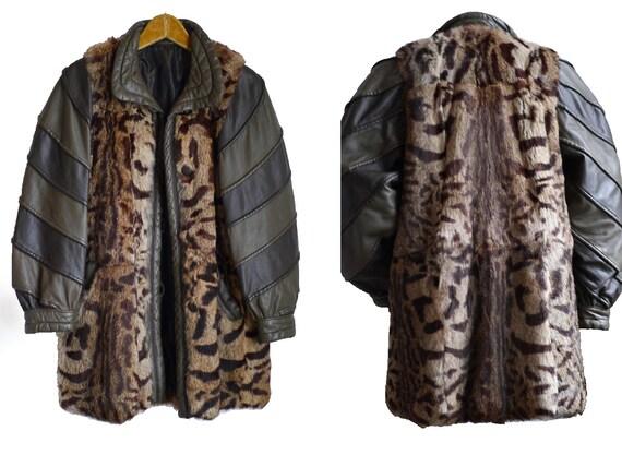 80s statement jacket / leather & fur /leopard vint