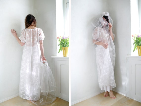 60s see Festive lace romantic 60s Party through bridal dress boho sheer Maxi Vintage Bridal gown Sheer vfTH8w