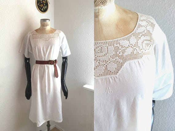 monogram collar French country Nightgown Lingerie White cotton Crochet Dress Dress Vintage style lenght lace Underwear Full q74KPUw