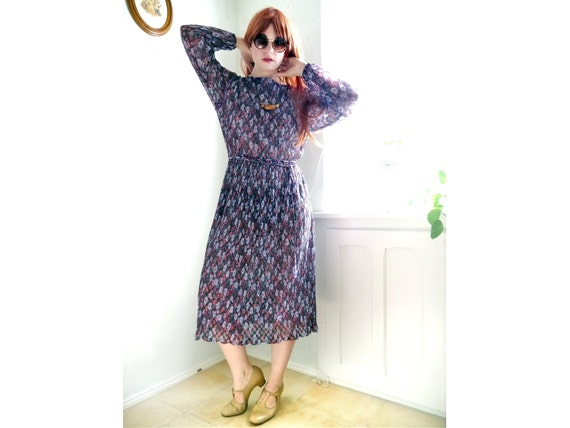 Long patterned gauze retro floral pleated dress sleeves vintage floral women's Sheer Vintage lace Purple DRESS day fashion summer t7awqvgp
