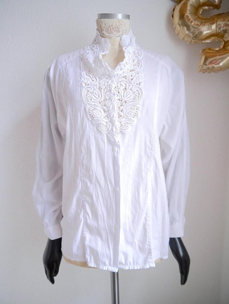 women/'s lace collar blouse vintage boho blouse White cotton lace clouse