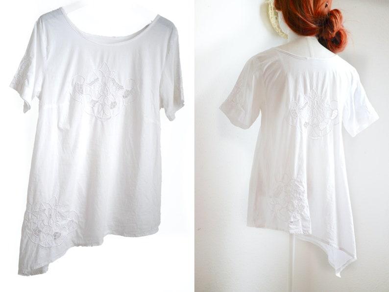 asymmetric dreamy boho blouse White cotton eyelet lace TOP