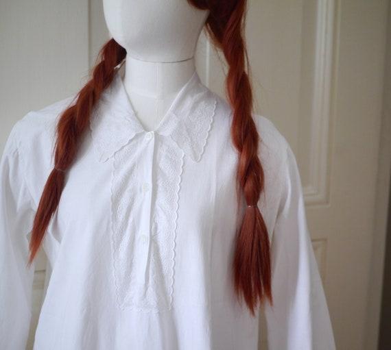 Antique victorian cotton lace dress/long sleeve n… - image 3