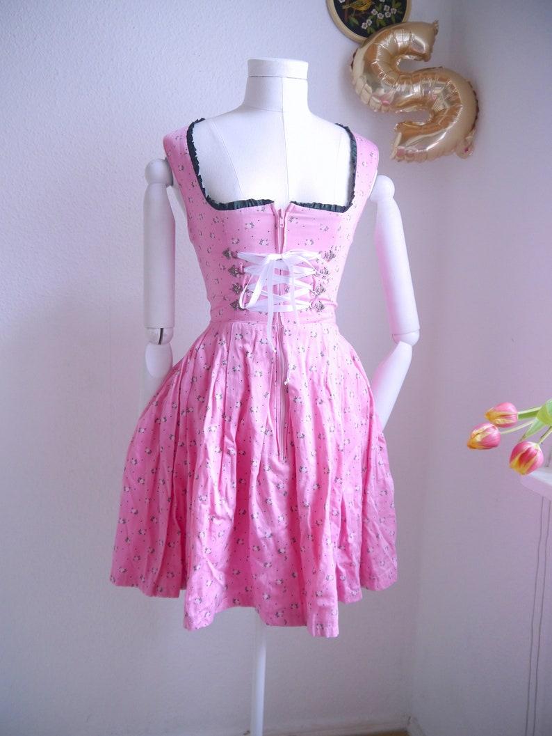 Small size SHORT cropped Dirndl Bavarian Dirndl Dirndl dress in rose pink floral Dirndl including 2 aprons