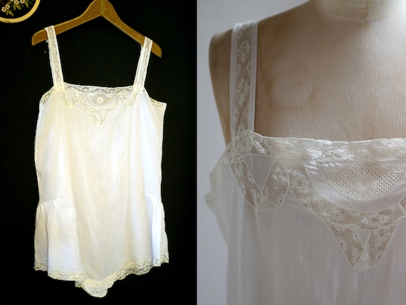 Antique French lingerie bodice / cotton gauze with