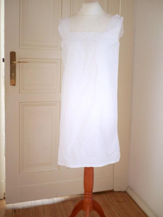 Antique cotton DRESS, White cotton shift  lace dr… - image 3