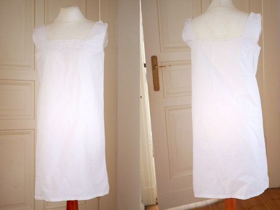 Antique cotton DRESS, White cotton shift  lace dr… - image 4