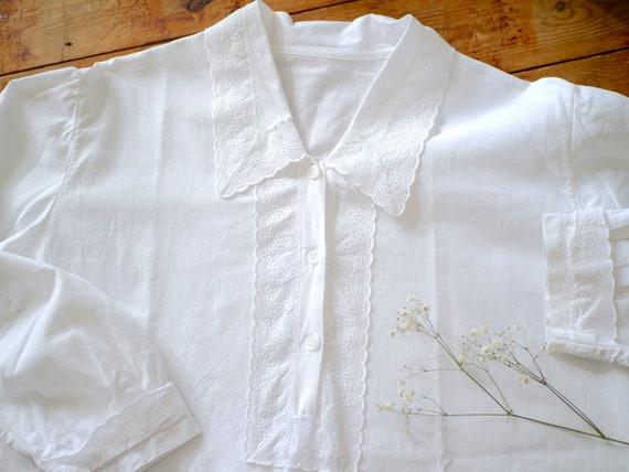 Antique victorian cotton lace dress/long sleeve n… - image 6