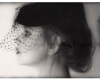 Whimsical Fine Art Photography, Portrait of a lady, black &white Print, Fashion photography, Profile, Veil with Polkadots, Elegant Vintage