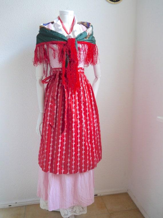 Red APRON, Dirndl apron, Austrian cotton apron, fl