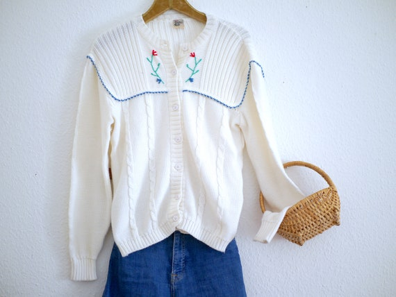 Vintage Knit CARDIGAN, ivory white floral knit jac