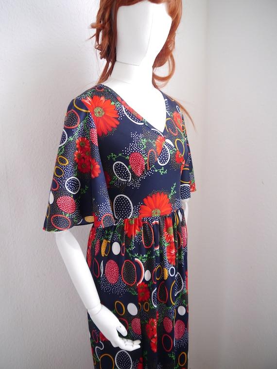 70s floral maxi DRESS, vintage bold print dress, c