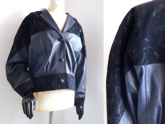 biker midnight leather 80s vintage blouson blue cropped Leather jacker jacket jacket bomber batwing jacket jacker women's Bomber jacket qqFztwxH