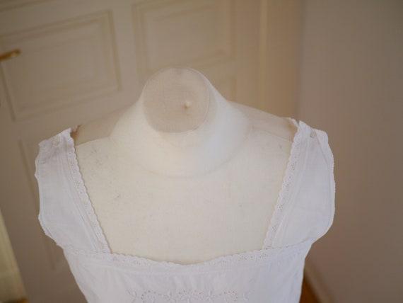 Antique cotton DRESS, White cotton shift  lace dr… - image 6
