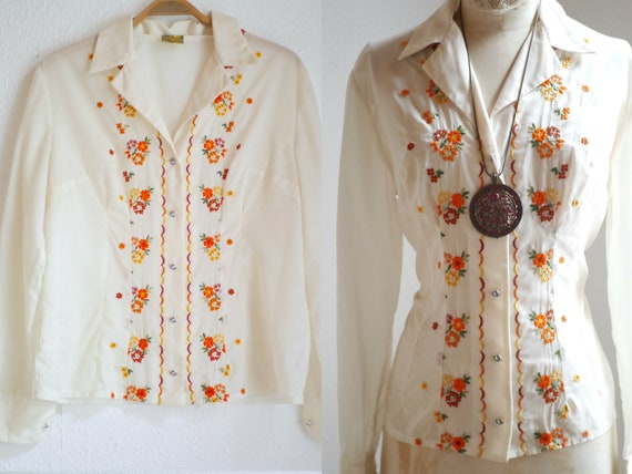 70s Folk blouse, floral embroidered vintage blouse