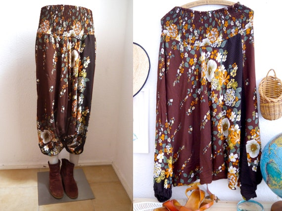 Boho HAREM PANTS, vintage floral belly harem pants