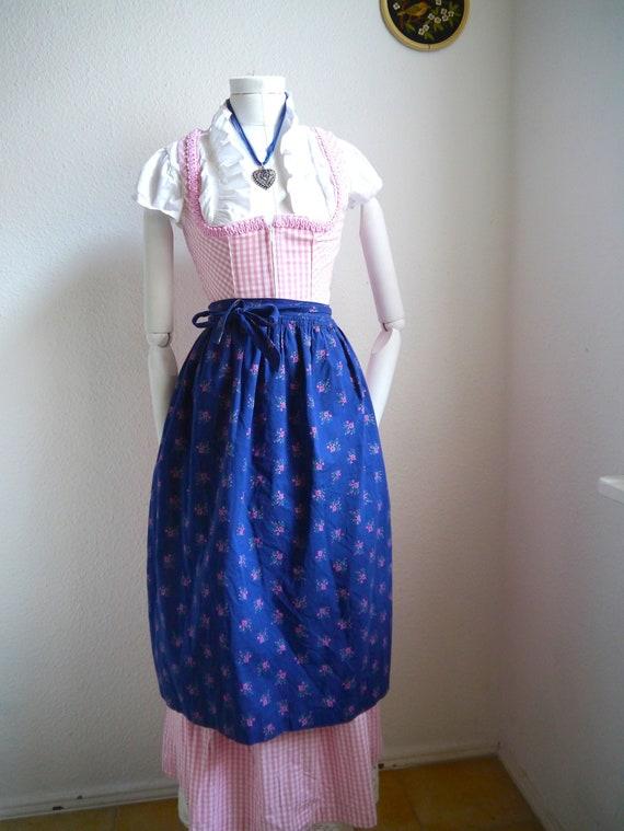 Blue cotton APRON Floral Apron, Dirndl apron