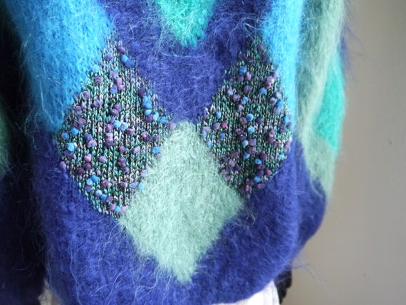 sweater color button Mohair blue knit novelty green women's cardigan block 80s cardigan fluffy up fuzzy qnPPFav