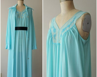 b6ac2322c7f8d JCPenney Turquoise Nightgown and Robe Set - Medium