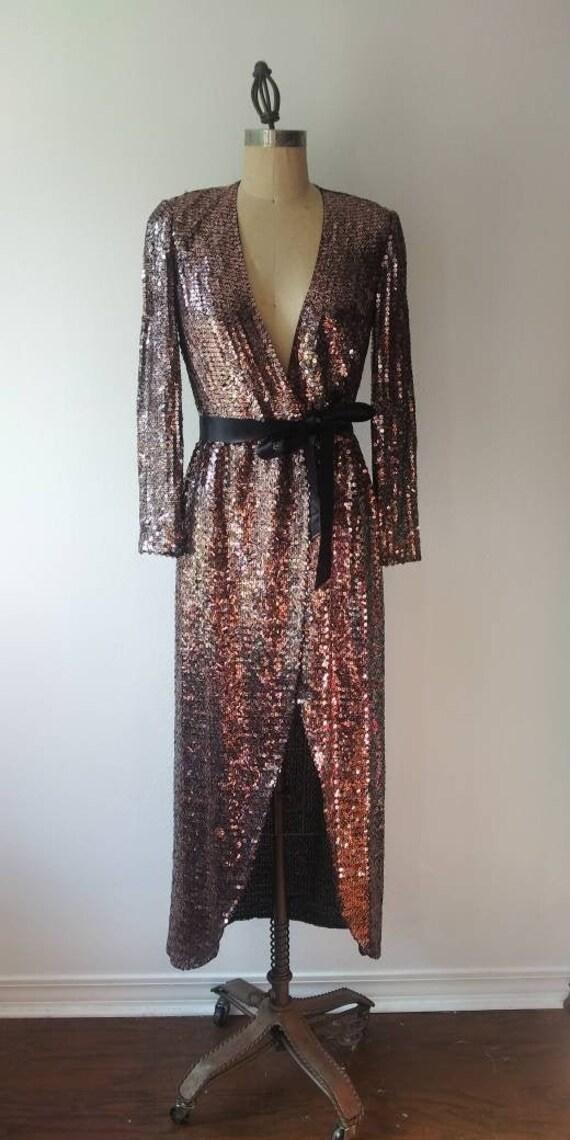 70s Estevez Sequin Wrap Dress - XS/S