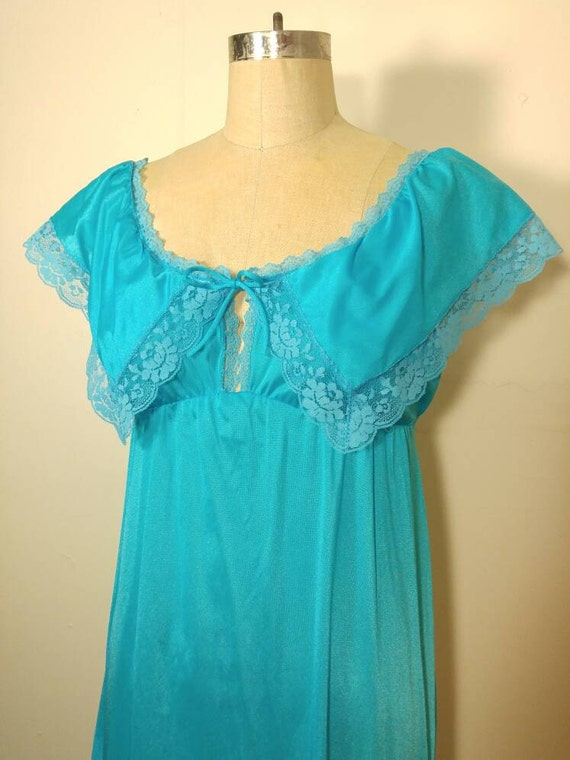 70s Turquoise Maxi Nightgown Slip Dress - Medium