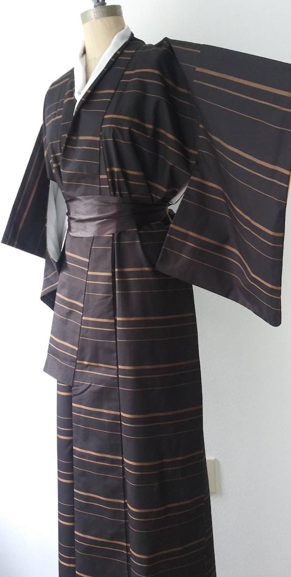 Black and Antique Gold Stripe Long Kimono