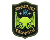 Cthulhu Fhtagn embroidered patch | H. P. Lovecraft horror monster occult sigil symbol secret society shield badge